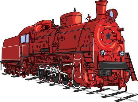 33140521 - soviet retro red locomotive train with a black star isolated on white .