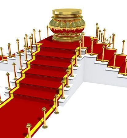35847707 - award is on red carpet on white staircase.
