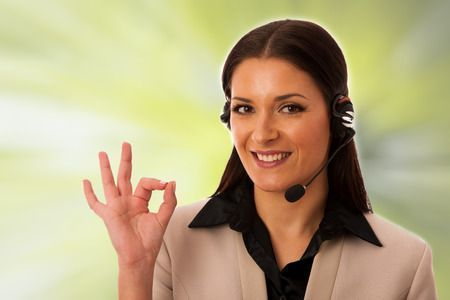 53070312 - woman with headset and microphone working in call center for helping customers.