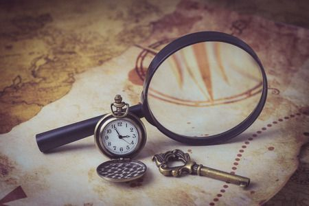 36850298 - old map with magnifying glass, pocket watch and old key