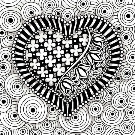 40800002 - vector black and white heart pattern