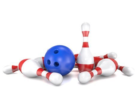 62313412 - skittles and bowling bal on white background are shown in image.
