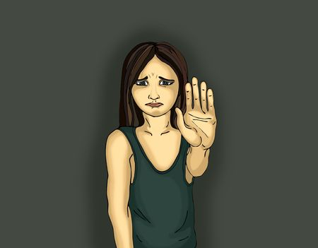 61376302 - angry and unhappy girl showing hand sign enough. against violence. stop the violence. pop art style. portrait on dark background