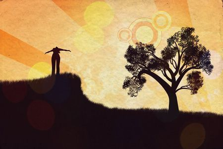 51970270 - stylized silhouette of a human relaxing on a beautiful sunset of a summer day.